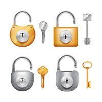 Set realistico di lucchetti e chiavi