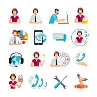 Set di icone piane di servizio di supporto clienti