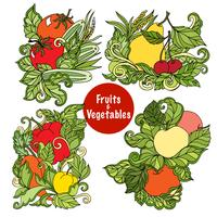 Set di composizioni di frutta e verdura ornamentale vettore