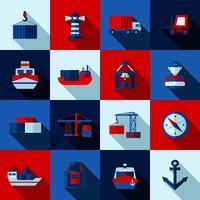 Set di icone di ombre piatte colore Seaport