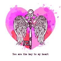 Carta di amore con chiave e cuore