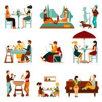 Set di icone di mangiare persone vettore