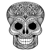 Icona di doodle nero teschio decorativo vettore
