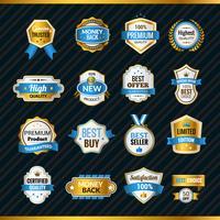 Etichette di lusso in oro e blu vettore