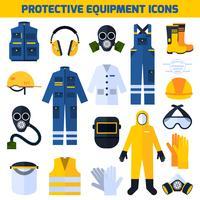 Icone piane dell'attrezzatura delle uniformi protettive messe