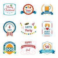 Emblemi di celebrazione di festa impostate