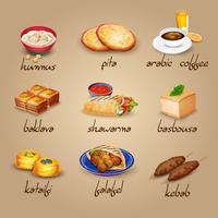 Set di icone cibo arabo vettore