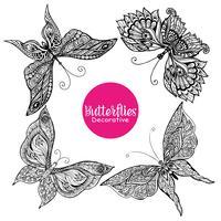Set di farfalle decorative vettore