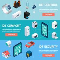 Set di banner isometrica domestica di Iot