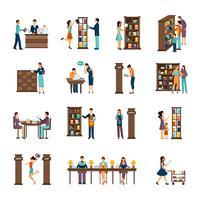 Persone in libreria Icon Set vettore