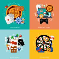 Giochi d'azzardo 4 icone piane quadrate