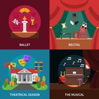 Set di icone di concetto di teatro