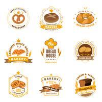 Set di icone piane emblemi di pane panetteria vettore