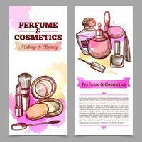 Banner verticale di profumi e cosmetici vettore
