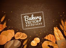Fondo di legno scuro del pane fresco di Backery vettore