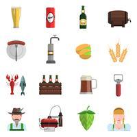 Set di icone di birra piatta