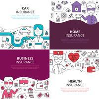 Assicurazione 4 icone quadrate di design lineare