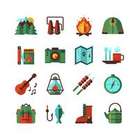 Set di icone piane di campeggio escursionismo