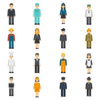 Set di avatar piatto professione