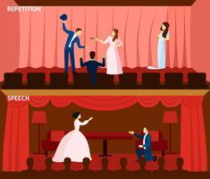 Spettacolo teatrale 2 composizione banner piatte