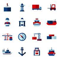Set di icone piane Seaport