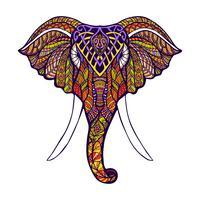 Testa di elefante colorata vettore