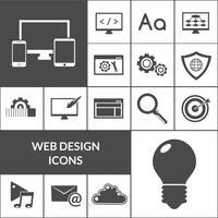 Insieme nero delle icone di web design vettore