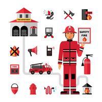 Set di icone piane di vigili del fuoco