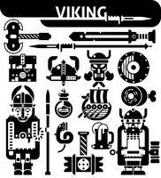 Set di icone bianche nere di Viking