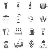 Set di icone nere di birra vettore