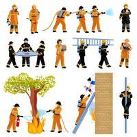 Set di icone di colore piatto persone vigili del fuoco vettore