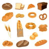 Set di icone piane di pane fresco