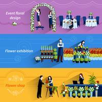 Set di banner piatto di servizio negozio fiorista vettore