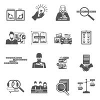 Set di icone nere di legge sul copyright di conformità