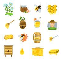 Set di icone di miele vettore