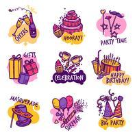 Insieme di etichette degli emblemi variopinti della festa di compleanno