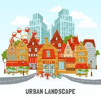 Illustrazione di città moderna vettore