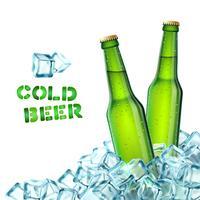 Bottiglie di birra e ghiaccio vettore