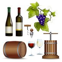 Collezione di icone di vino piatta vettore