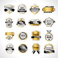 Etichette di lusso in oro e nero vettore