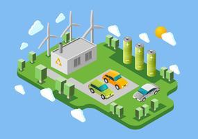 Banner isometrico stazione di ricarica di auto elettriche