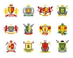 Set di emblemi araldici vettore