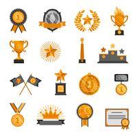Set di icone di trofei e premi vettore