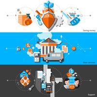 Set di banner orizzontale di attività bancarie vettore