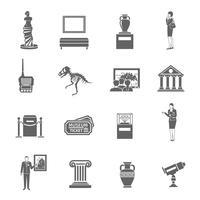 Set di icone del museo vettore