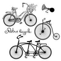 Set di biciclette retrò vettore
