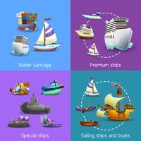 Set di icone di trasporto dell'acqua