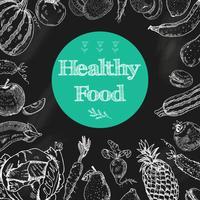 Sfondo di lavagna di cibo sano