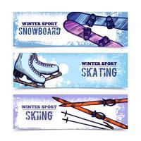 Set di banner di sport invernali vettore