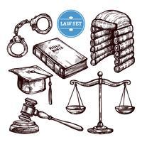 Set di legge disegnata a mano vettore
